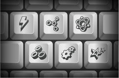 3D Internet Icons on Computer Keyboard Buttons Stock Photos