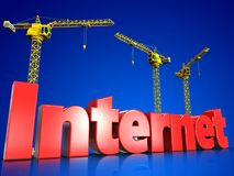 3d internet over blue. 3d illustration of internet sign with cranes over blue background Royalty Free Stock Photos