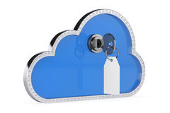 3 d internetu wytapiania pojęcia ochrony 3d chmura z kluczem i kędziorkiem Obraz Stock