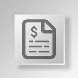 3D invoice Button Icon Concept. 3D Symbol Gray Square invoice Button Icon Concept Stock Photos