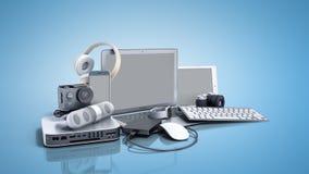 3D inzameling van de elektronika van de consument geeft op blauwe achtergrond terug Stock Foto