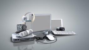3D inzameling van de elektronika van de consument geeft op grijze achtergrond terug Stock Afbeeldingen
