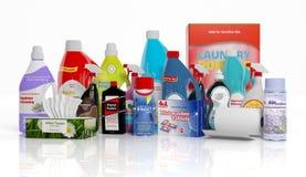 3D inzameling van huishouden schoonmakende producten Stock Foto's