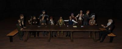 3D Iray geeft van het Laatste Avondmaal terug stock illustratie