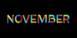 3d iridescent gradient November month sign Stock Photography