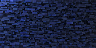 3d irregular grungy mosaic wall in deep blue Royalty Free Stock Images