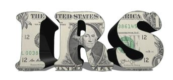 3D IRS - Internal Revenue Service, su bianco fotografia stock libera da diritti