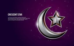 3D islamic crescent and star vector illustration with light and dots on dark purple background. vector illustration