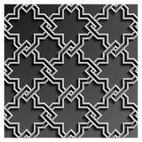 3d islamic geometric pattern background vector. Beautiful islamic geometric arabic art vector pattern background with 3d shadow effect. grey and white oriental Royalty Free Stock Image