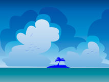 2D Island Background. Island with Sky Background and Birds Royalty Free Stock Image