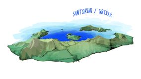 3D Island Map of Santorini Royalty Free Stock Photo