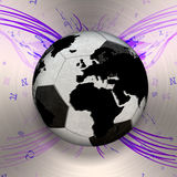 3D isolated Black and white soccer ball with world map, world Stock Images