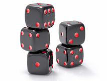 3D Isolated Dices Group. 3D Isolated Black Dices Group Royalty Free Stock Images