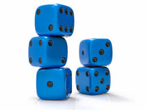 3D Isolated Dices Group. 3D Isolated Blue Dices Group Royalty Free Stock Images