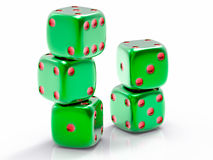 3D Isolated Dices Group. 3D Isolated Green Dices Group Stock Photo