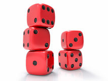 3D Isolated Dices Group. 3D Isolated Red Dices Group Royalty Free Stock Photo