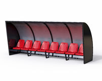 3D Isolated Football Soccer Bench. Sport Substitute Trainer Stock Images