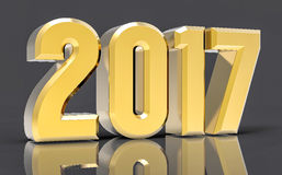 3D Isolated Gold 2017 Year. Golden 3D Isolated Gold 2017 Year Stock Image
