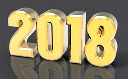 3D Isolated Gold 2018 Year. Golden 3D Isolated Gold 2018 Year Stock Photography