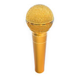3D Isolated Golden Microphone Stock Photos