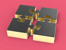 3D Isolated Jigsaw Pieces Stock Images