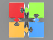 3D Isolated Jigsaw Pieces. Royalty Free Stock Images