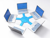 3D Isolated Network LAN Data Laptops. Information Teamwork Conce Royalty Free Stock Photos