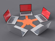 3D Isolated Network LAN Data Laptops. Information Teamwork Conce Royalty Free Stock Photo