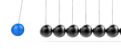 3D Isolated Pendulum Balls Ilustration. Business Teamwork Concep. T Royalty Free Stock Photos