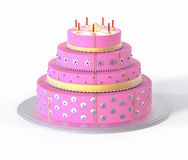 3d Isolated Pink Cake Illustration. Wedding Celebration Royalty Free Stock Photos