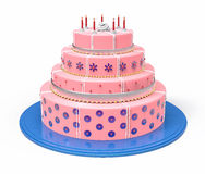3d Isolated Pink Cake Illustration. Wedding Celebration Stock Photography