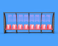 3D Isolated Red Football Soccer Bench. Royalty Free Stock Image