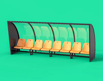 3D Isolated Yellow Football Soccer Bench. Sport Subtitute Trainer Stock Photo