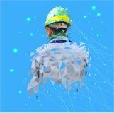D'isolement bas poly de l'ingénieur de sécurité avec le réseau se reliant de point sur l'au sol de dos de l'espace, style géométr illustration de vecteur