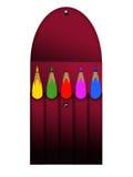 D'isolement cinq crayons colorés Illustration Stock