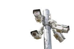 D'isolement de l'appareil-photo extérieur de télévision en circuit fermé d'angle multiple sur le Polonais Images libres de droits