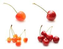 D'isolement réglé de la cerise orange et de la cerise rouge Photo libre de droits