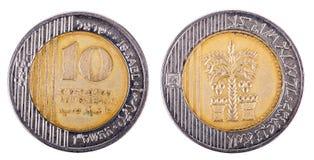 D'isolement 10 shekels - les deux côtés frontaux Photographie stock libre de droits