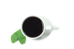 D'isolement sur le fond blanc Cuvette de café blanc Image stock