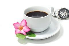 D'isolement sur le fond blanc Cuvette de café blanc Image libre de droits