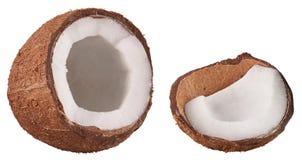 D'isolement sur le fruit tropical mûr ouvert d'écrou de Cocos de blanc Noix de coco coupée avec la chair blanche Concept tropical photo stock