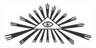 D'isolement tout-voyant l'oeil dans une triangle illustration libre de droits