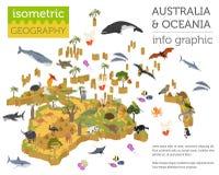 3d isométricos Australia y la flora y la fauna de Oceanía trazan elementos ilustración del vector