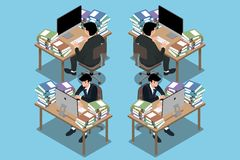 3d isométricos do homem de negócios que se sentam e se trabalham muito duramente, indo esgotar e sentir como correrá fora das bat ilustração do vetor