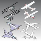 3d isometric airplanes illustration. Vector illustration for graphic design Stock Photography