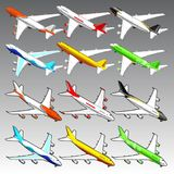 3d isometric airplanes illustration. Vector illustration for graphic design royalty free illustration