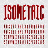 3D isometric alphabet vector font. Isometric letters and numbers. Decorative vector typeset Stock Photos