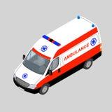 3D isometric ambulance car isolated. Royalty Free Stock Images