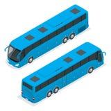 3D isometric autobus turysta autobus globalny transport Wektorowy isometric autobus Isometric autobusowa ikona autobus odizolowan royalty ilustracja