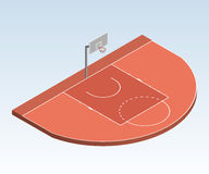 3D isometric basketball court, the three-point field goal area. 3D isometric basketball court illustration, the three-point field goal area with basket, orange Stock Images
